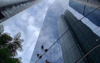 Rope-access window cleaning